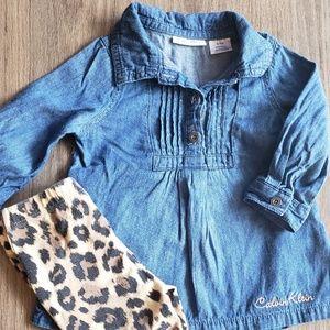 Calvin Klein Cheetah Pants & Denim Top Outfit